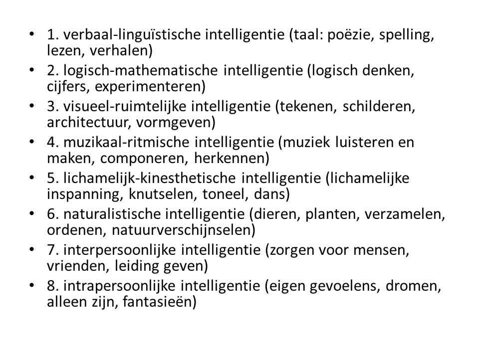 1. verbaal-linguïstische intelligentie (taal: poëzie, spelling, lezen, verhalen) 2. logisch-mathematische intelligentie (logisch denken, cijfers, expe