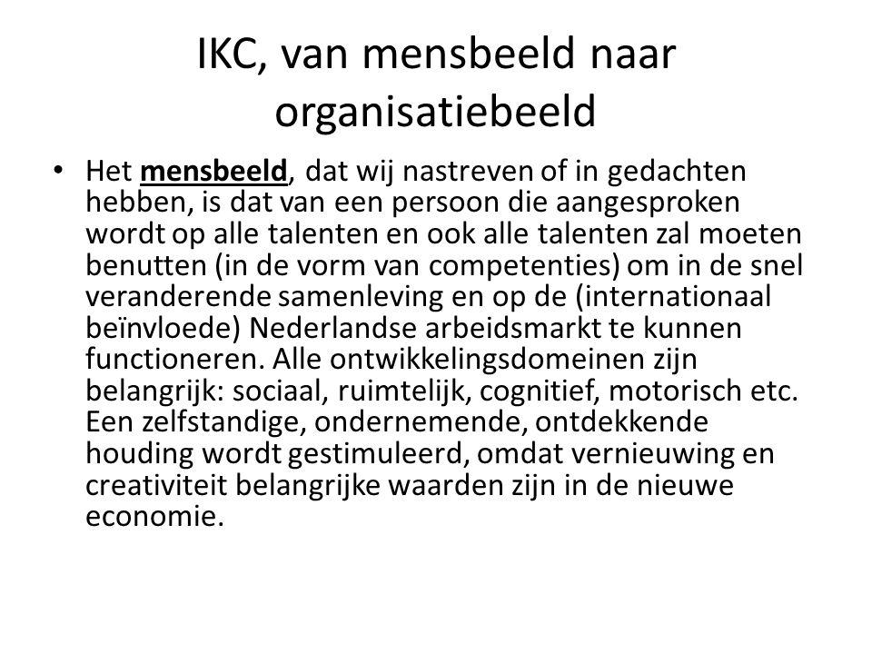 IKC, van mensbeeld naar organisatiebeeld Het mensbeeld, dat wij nastreven of in gedachten hebben, is dat van een persoon die aangesproken wordt op all