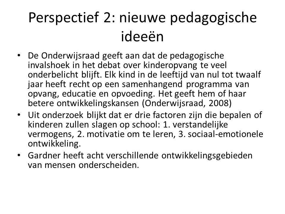 Perspectief 2: nieuwe pedagogische ideeën De Onderwijsraad geeft aan dat de pedagogische invalshoek in het debat over kinderopvang te veel onderbelich