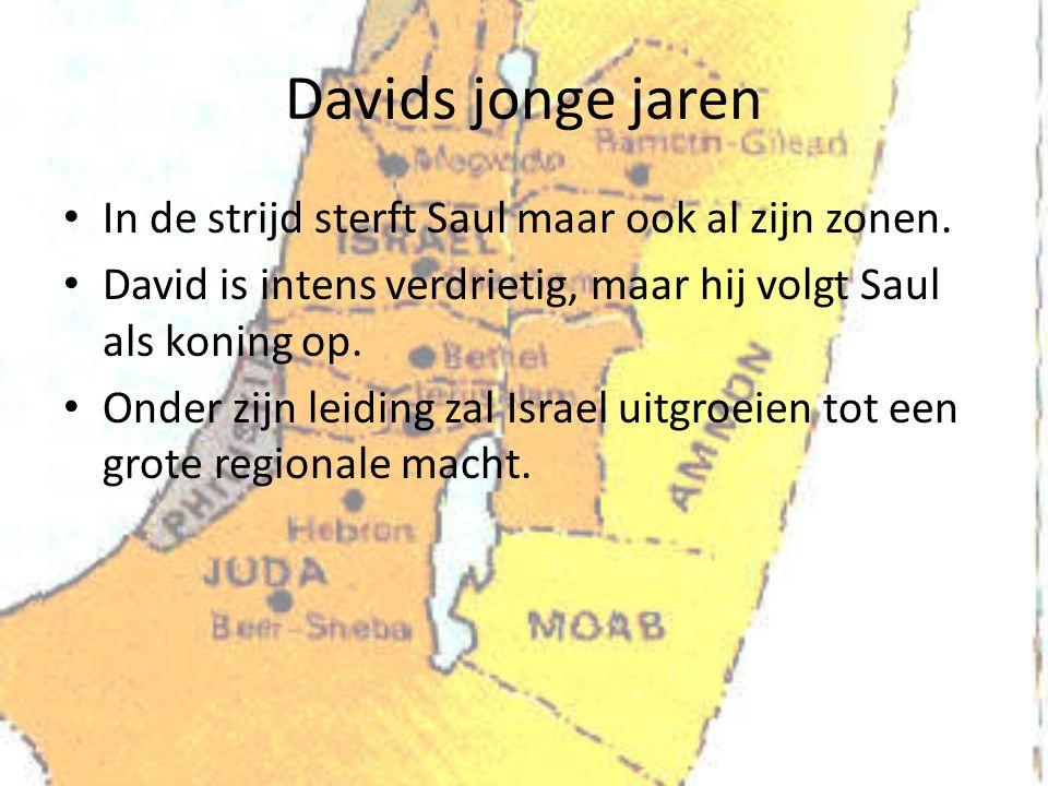 Davids jonge jaren In de strijd sterft Saul maar ook al zijn zonen. David is intens verdrietig, maar hij volgt Saul als koning op. Onder zijn leiding