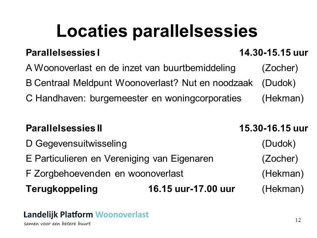 12 Locaties parallelsessies Parallelsessies I 14.30-15.15 uur AWoonoverlast en de inzet van buurtbemiddeling (Zocher) BCentraal Meldpunt Woonoverlast.