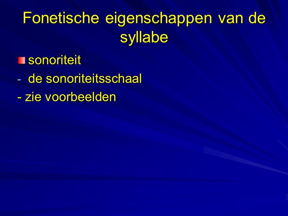 Fonetische eigenschappen van de syllabe sonoriteit - de sonoriteitsschaal - zie voorbeelden