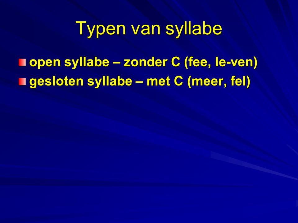 Typen van syllabe open syllabe – zonder C (fee, le-ven) gesloten syllabe – met C (meer, fel)