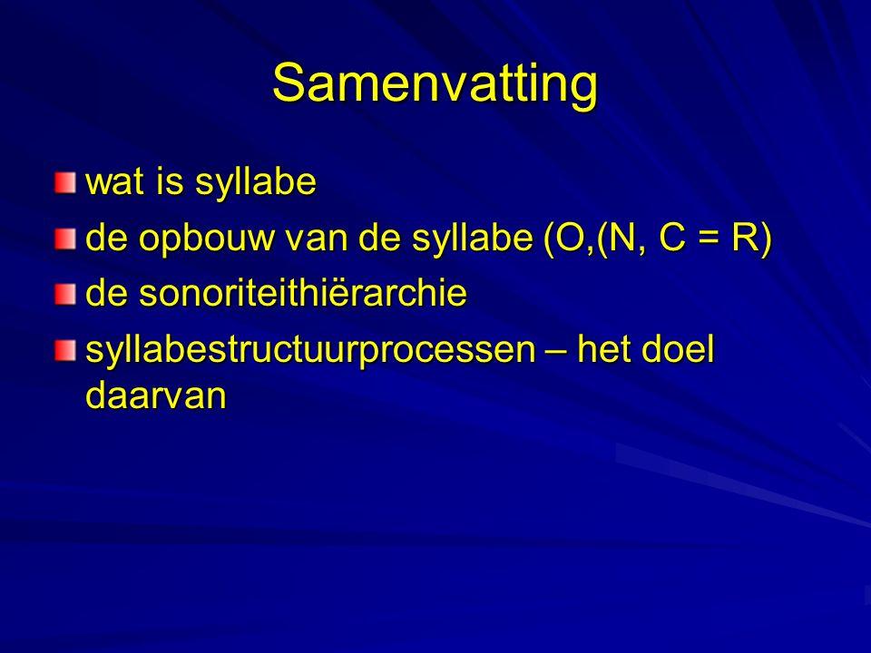 Samenvatting wat is syllabe de opbouw van de syllabe (O,(N, C = R) de sonoriteithiërarchie syllabestructuurprocessen – het doel daarvan