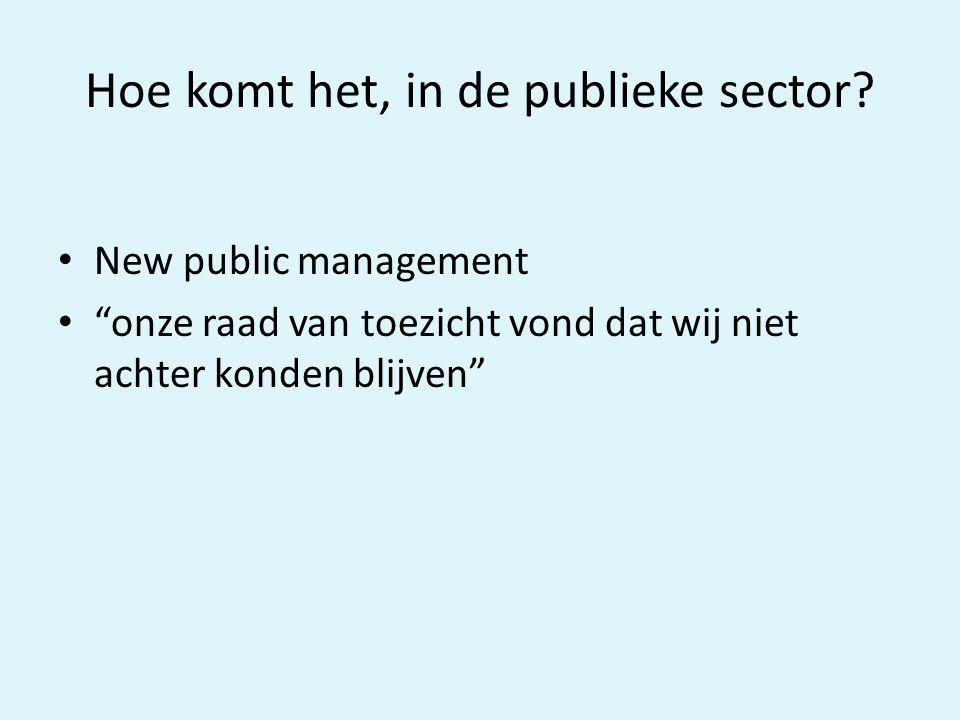 """Hoe komt het, in de publieke sector? New public management """"onze raad van toezicht vond dat wij niet achter konden blijven"""""""
