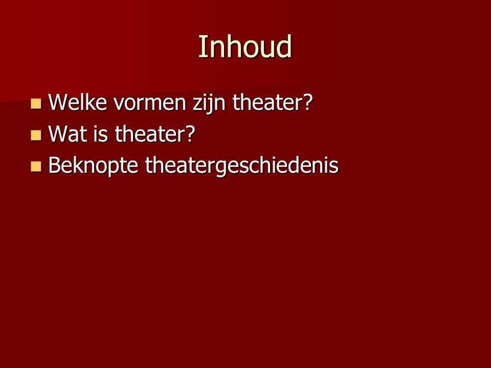 Inhoud Welke vormen zijn theater? Welke vormen zijn theater? Wat is theater? Wat is theater? Beknopte theatergeschiedenis Beknopte theatergeschiedenis