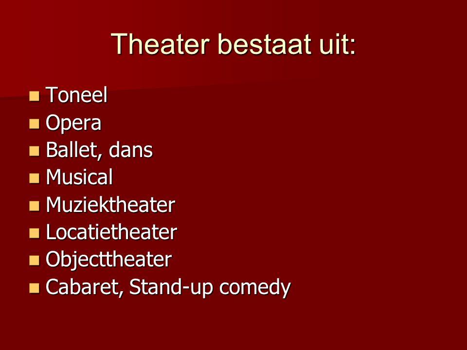 Theater bestaat uit: Toneel Toneel Opera Opera Ballet, dans Ballet, dans Musical Musical Muziektheater Muziektheater Locatietheater Locatietheater Obj