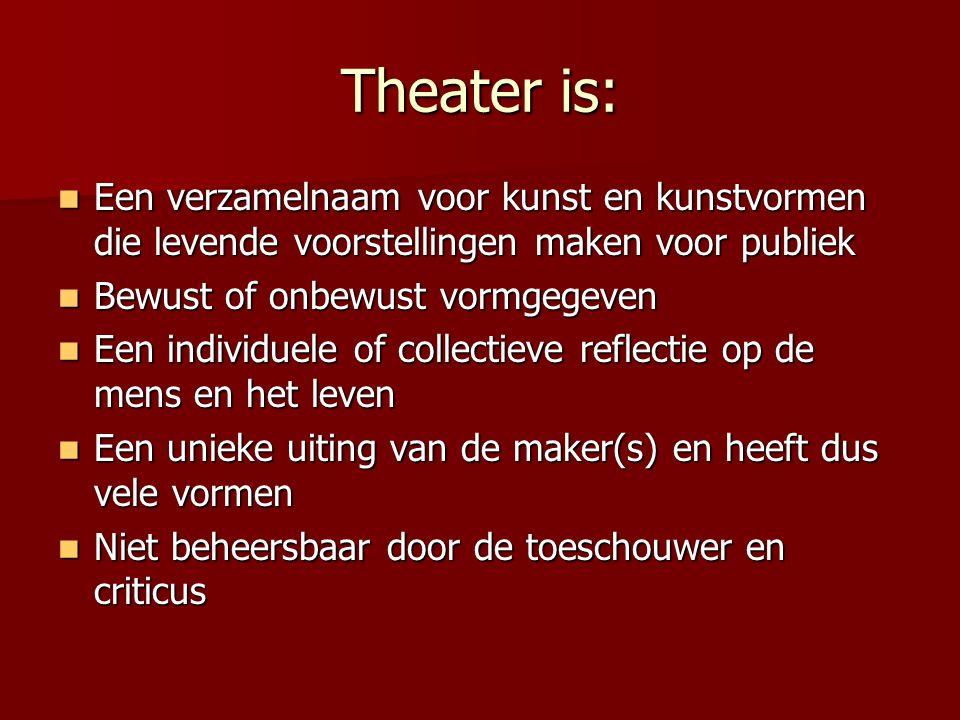 Theater is: Een verzamelnaam voor kunst en kunstvormen die levende voorstellingen maken voor publiek Een verzamelnaam voor kunst en kunstvormen die le