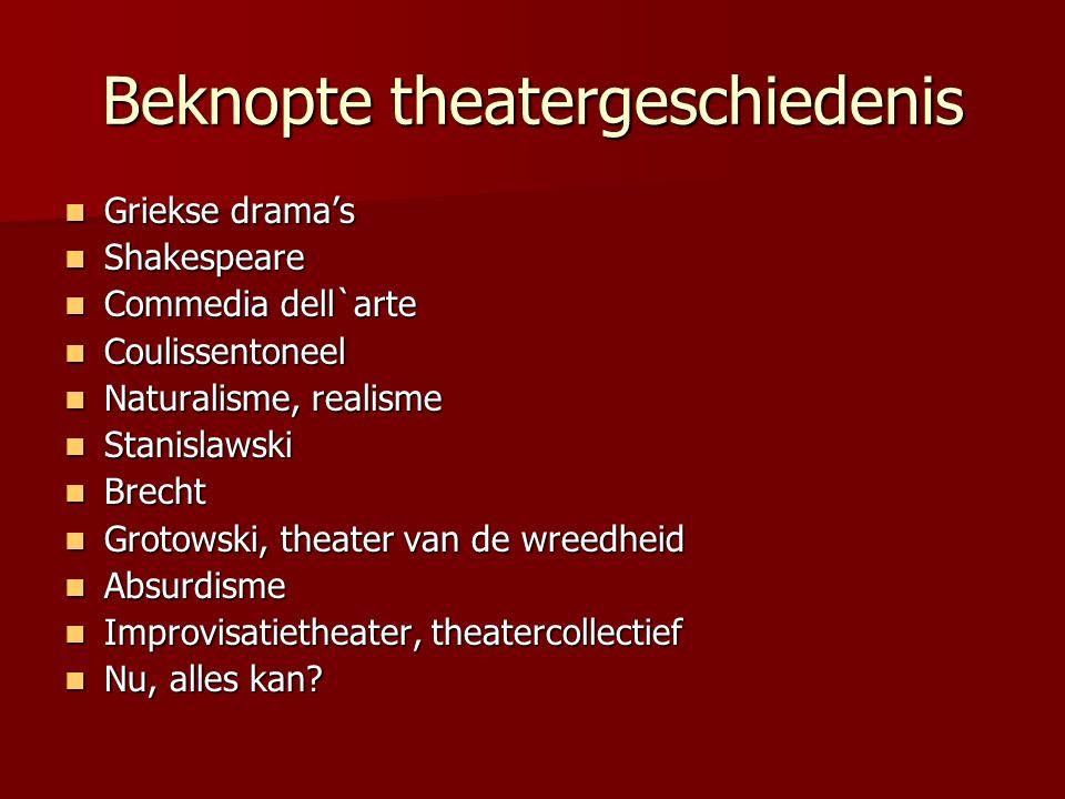 Beknopte theatergeschiedenis Griekse drama's Griekse drama's Shakespeare Shakespeare Commedia dell`arte Commedia dell`arte Coulissentoneel Coulissento
