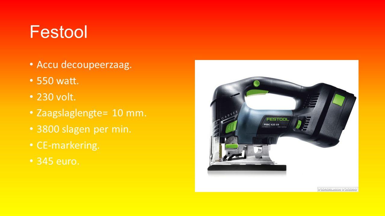 Festool Accu decoupeerzaag. 550 watt. 230 volt. Zaagslaglengte= 10 mm.