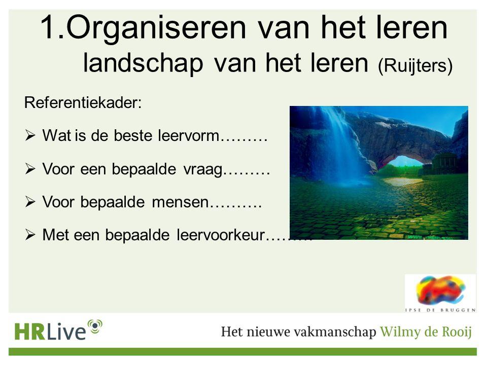 1.Organiseren van het leren landschap van het leren (Ruijters) Referentiekader:  Wat is de beste leervorm………  Voor een bepaalde vraag………  Voor bepaalde mensen……….