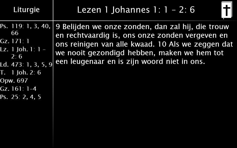 Liturgie Ps.119: 1, 3, 40, 66 Gz.171: 1 Lz.1 Joh. 1: 1 – 2: 6 Ld.473: 1, 3, 5, 9 T.1 Joh.