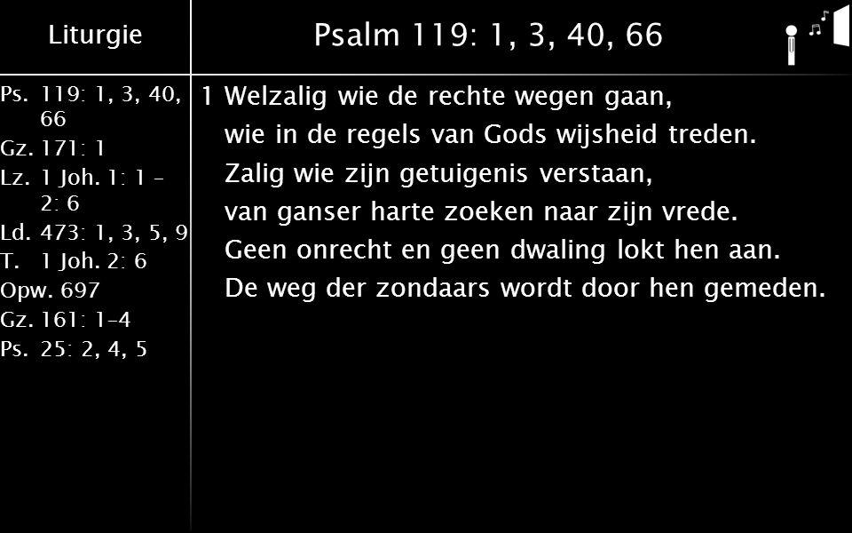 Liturgie Ps.119: 1, 3, 40, 66 Gz.171: 1 Lz.1 Joh.1: 1 – 2: 6 Ld.473: 1, 3, 5, 9 T.1 Joh.