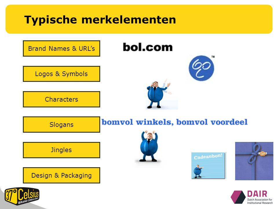 Design & Packaging Typische merkelementen Jingles Slogans Characters Logos & Symbols Brand Names & URL's