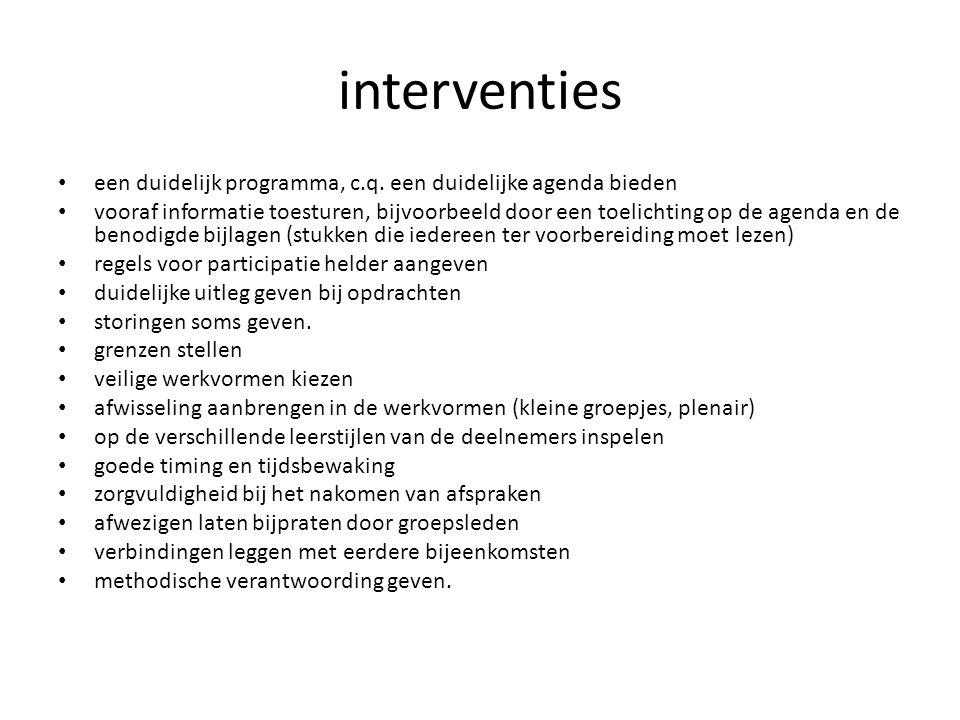 interventies een duidelijk programma, c.q. een duidelijke agenda bieden vooraf informatie toesturen, bijvoorbeeld door een toelichting op de agenda en