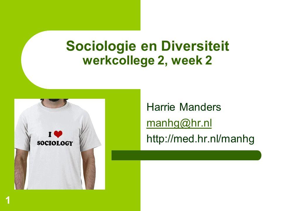 1 Sociologie en Diversiteit werkcollege 2, week 2 Harrie Manders manhg@hr.nl http://med.hr.nl/manhg