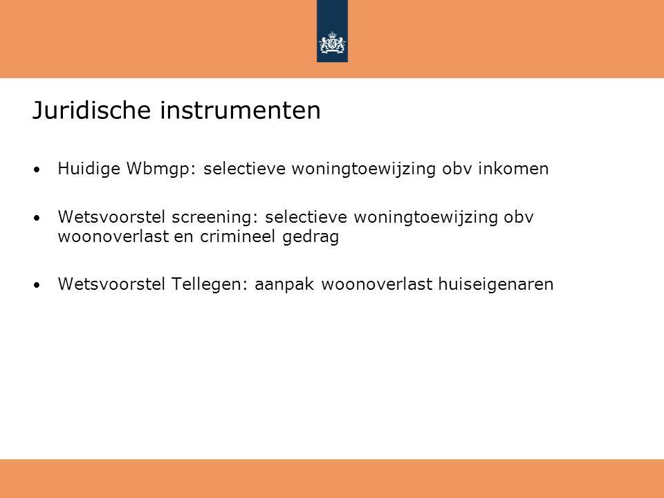 Juridische instrumenten Huidige Wbmgp: selectieve woningtoewijzing obv inkomen Wetsvoorstel screening: selectieve woningtoewijzing obv woonoverlast en
