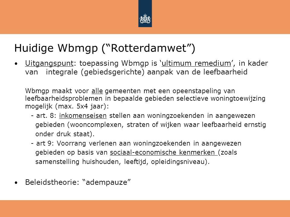 """Huidige Wbmgp (""""Rotterdamwet"""") Uitgangspunt: toepassing Wbmgp is 'ultimum remedium', in kader van integrale (gebiedsgerichte) aanpak van de leefbaarhe"""