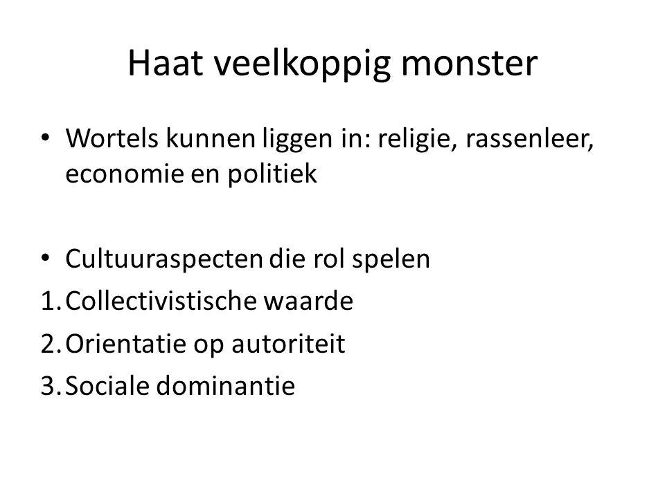 Haat veelkoppig monster Wortels kunnen liggen in: religie, rassenleer, economie en politiek Cultuuraspecten die rol spelen 1.Collectivistische waarde 2.Orientatie op autoriteit 3.Sociale dominantie