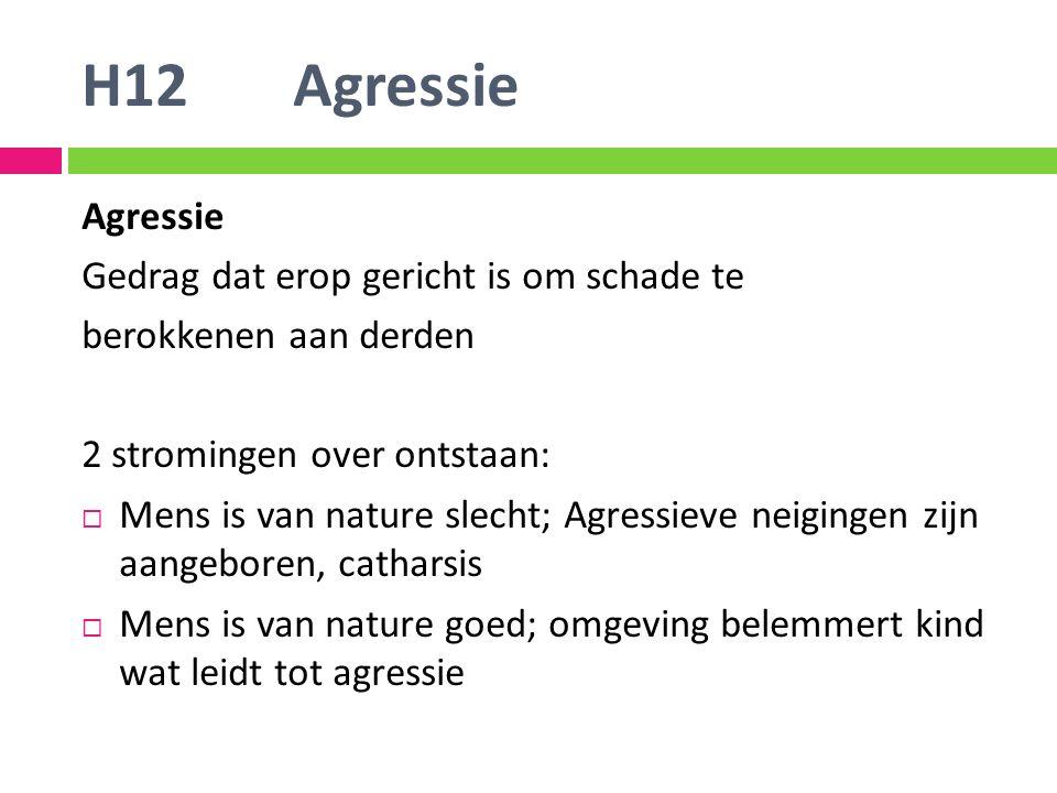 H12 Agressie Agressie Gedrag dat erop gericht is om schade te berokkenen aan derden 2 stromingen over ontstaan:  Mens is van nature slecht; Agressiev