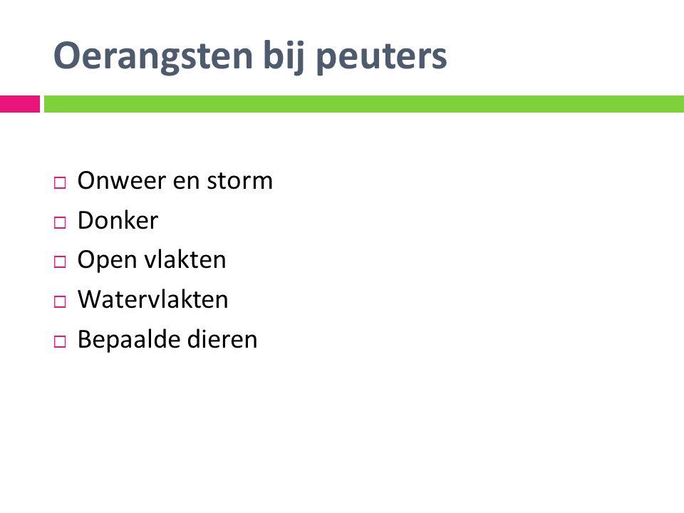 Oerangsten bij peuters  Onweer en storm  Donker  Open vlakten  Watervlakten  Bepaalde dieren