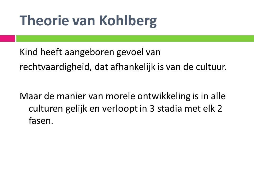 Theorie van Kohlberg Kind heeft aangeboren gevoel van rechtvaardigheid, dat afhankelijk is van de cultuur. Maar de manier van morele ontwikkeling is i