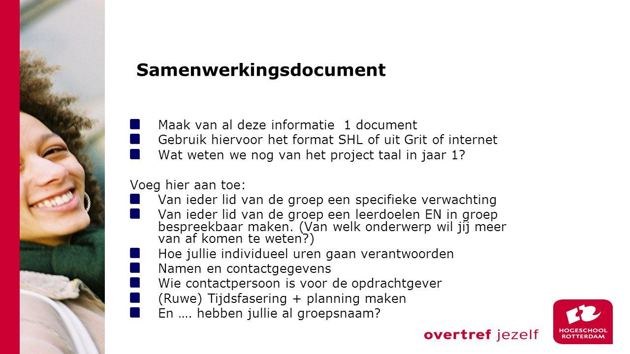 Samenwerkingsdocument Maak van al deze informatie 1 document Gebruik hiervoor het format SHL of uit Grit of internet Wat weten we nog van het project taal in jaar 1.