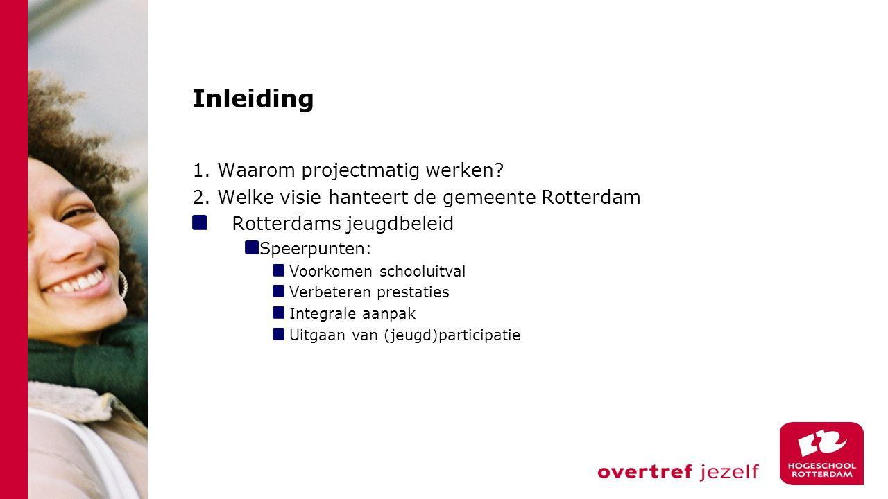 Inleiding 1. Waarom projectmatig werken. 2.