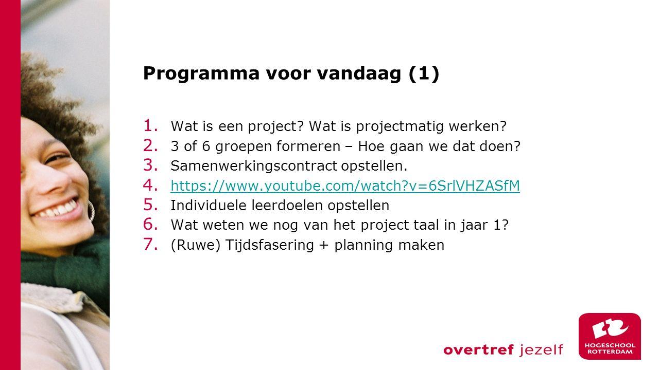 Programma voor vandaag (1) 1. Wat is een project.