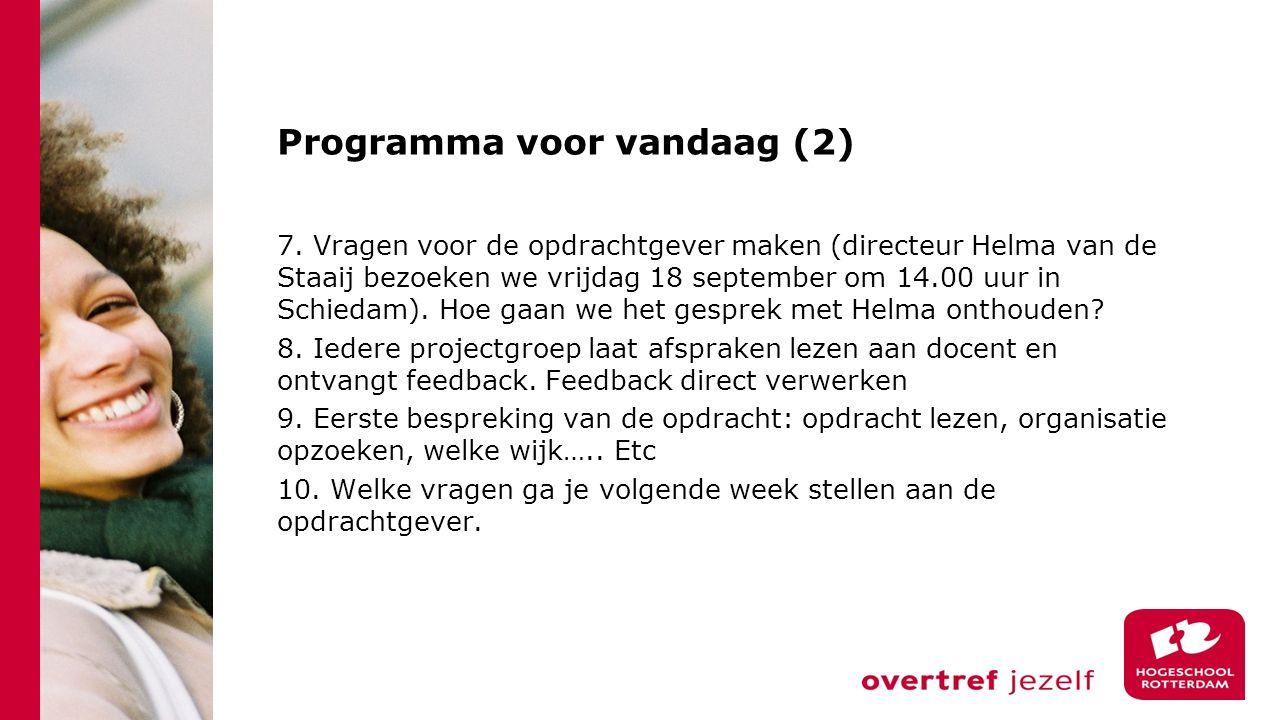 Programma voor vandaag (2) 7.