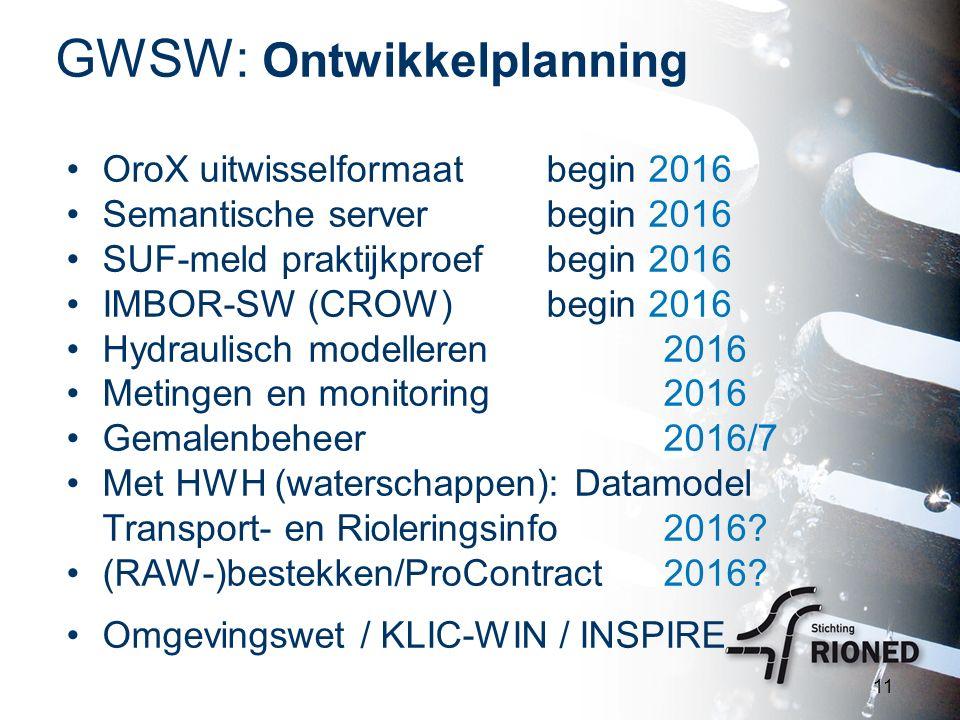 GWSW: Ontwikkelplanning 11 OroX uitwisselformaatbegin 2016 Semantische serverbegin 2016 SUF-meld praktijkproefbegin 2016 IMBOR-SW (CROW)begin 2016 Hyd