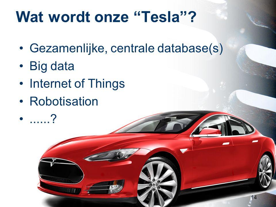 """Wat wordt onze """"Tesla""""? 14 Gezamenlijke, centrale database(s) Big data Internet of Things Robotisation......?"""