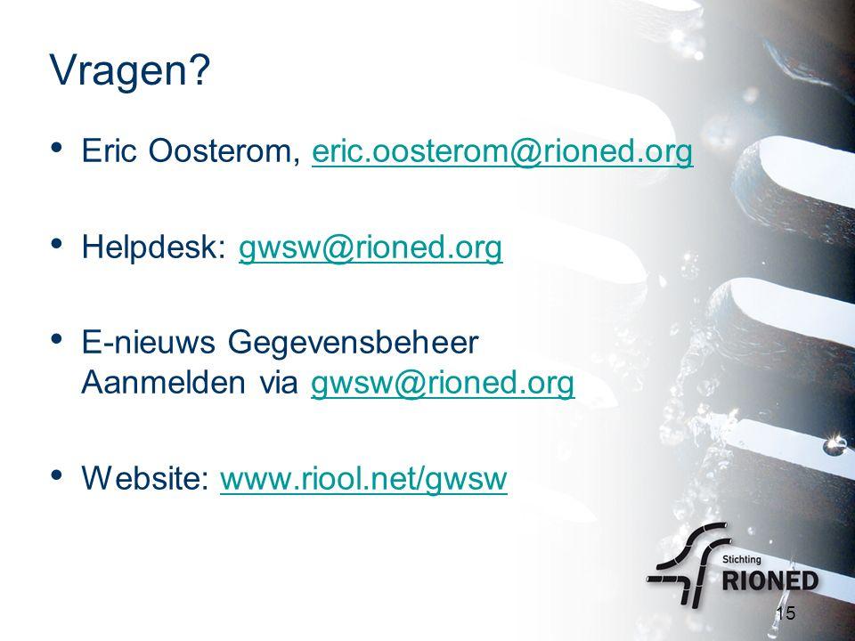 Vragen? Eric Oosterom, eric.oosterom@rioned.orgeric.oosterom@rioned.org Helpdesk: gwsw@rioned.orggwsw@rioned.org E-nieuws Gegevensbeheer Aanmelden via