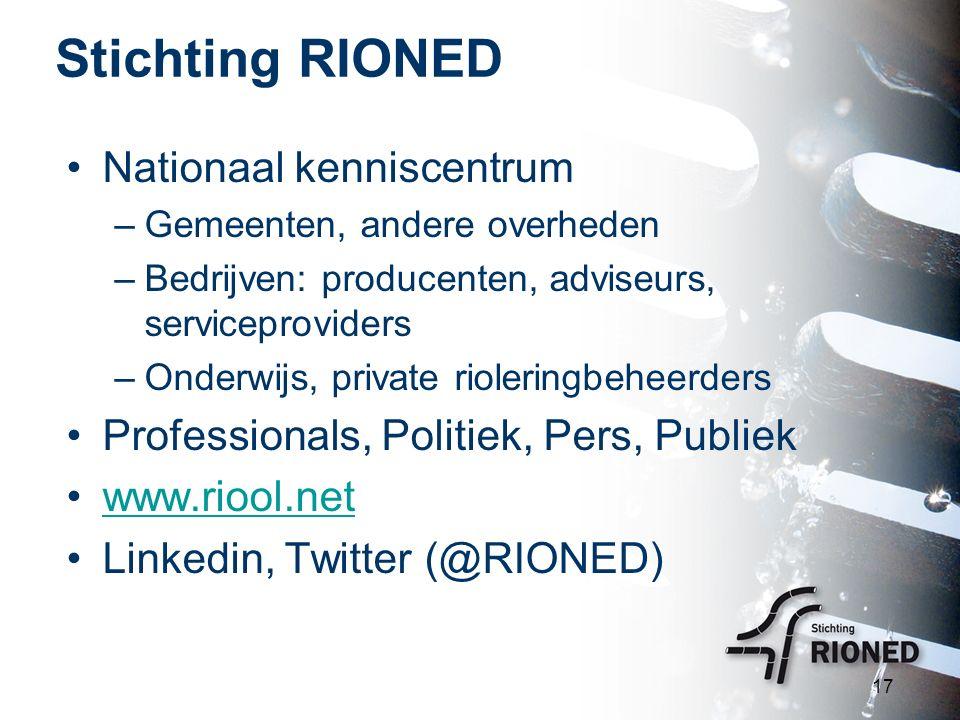 Stichting RIONED Nationaal kenniscentrum –Gemeenten, andere overheden –Bedrijven: producenten, adviseurs, serviceproviders –Onderwijs, private rioleri
