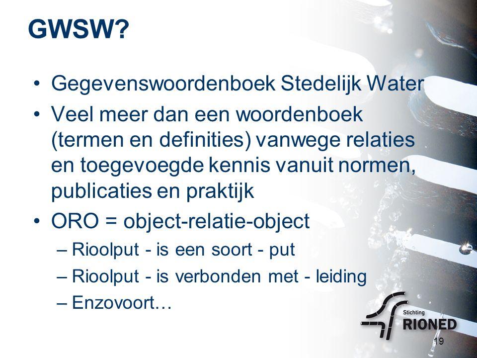 GWSW? Gegevenswoordenboek Stedelijk Water Veel meer dan een woordenboek (termen en definities) vanwege relaties en toegevoegde kennis vanuit normen, p