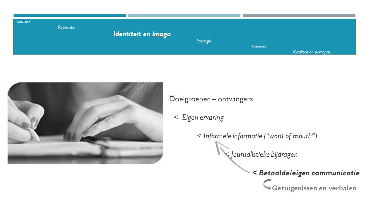 """Doelgroepen – ontvangers < Eigen ervaring < Informele informatie (""""word of mouth"""") < Journalistieke bijdragen < Betaalde/eigen communicatie Getuigenis"""