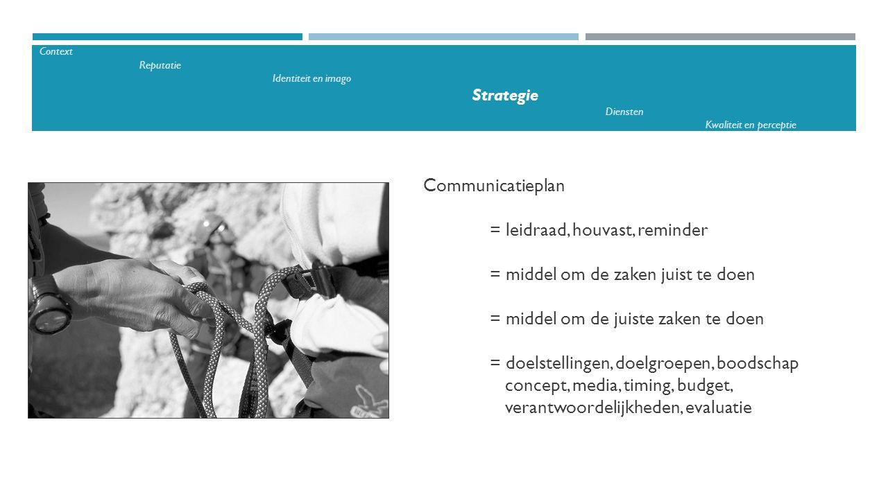 Communicatieplan = leidraad, houvast, reminder = middel om de zaken juist te doen = middel om de juiste zaken te doen = doelstellingen, doelgroepen, b