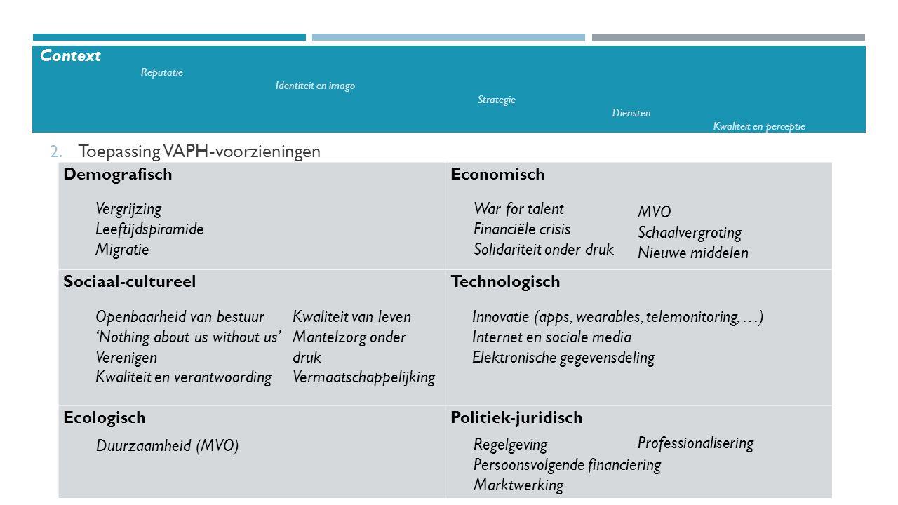 2. Toepassing VAPH-voorzieningen Demografisch Economisch Sociaal-cultureel Technologisch EcologischPolitiek-juridisch Vergrijzing Leeftijdspiramide Mi