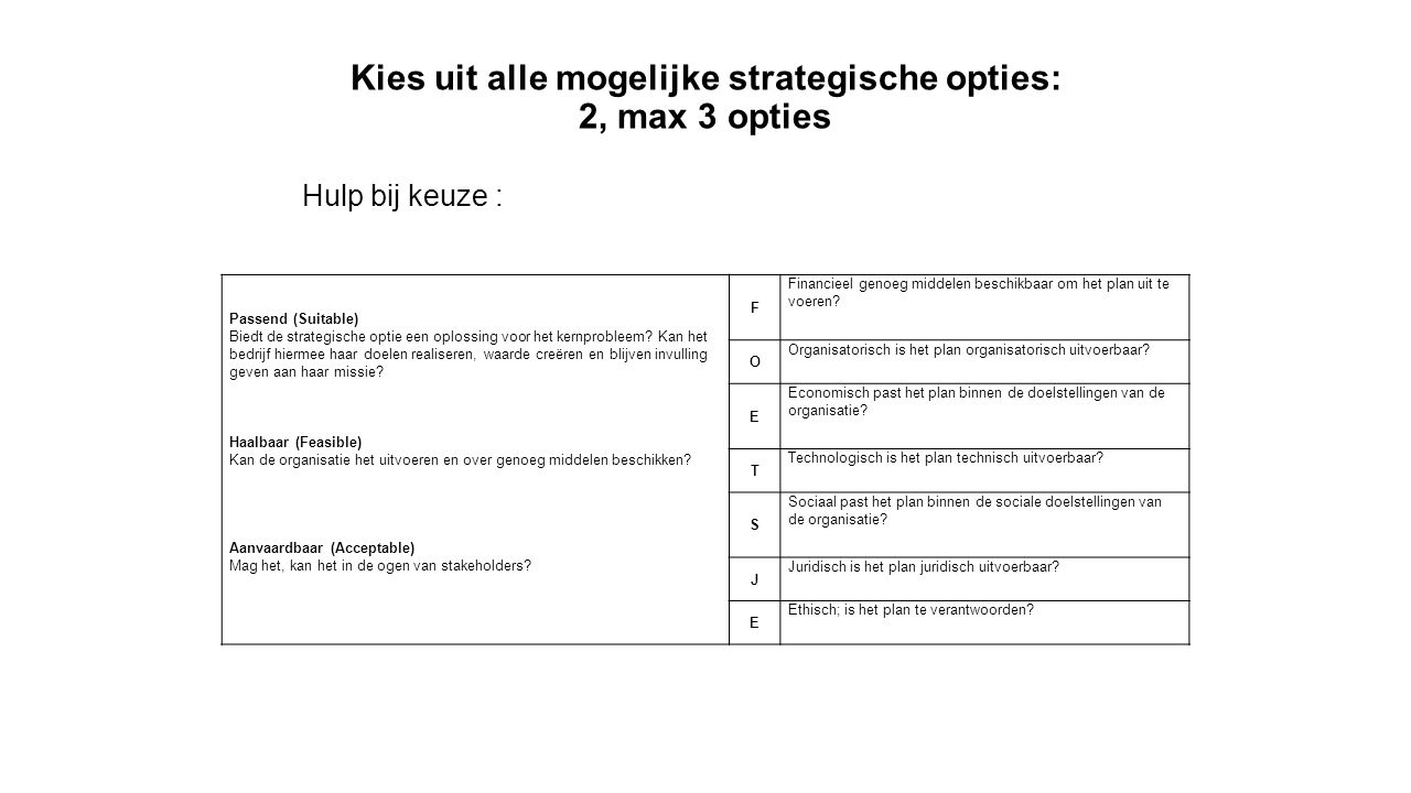 Kies uit alle mogelijke strategische opties: 2, max 3 opties Passend (Suitable) Biedt de strategische optie een oplossing voor het kernprobleem? Kan h