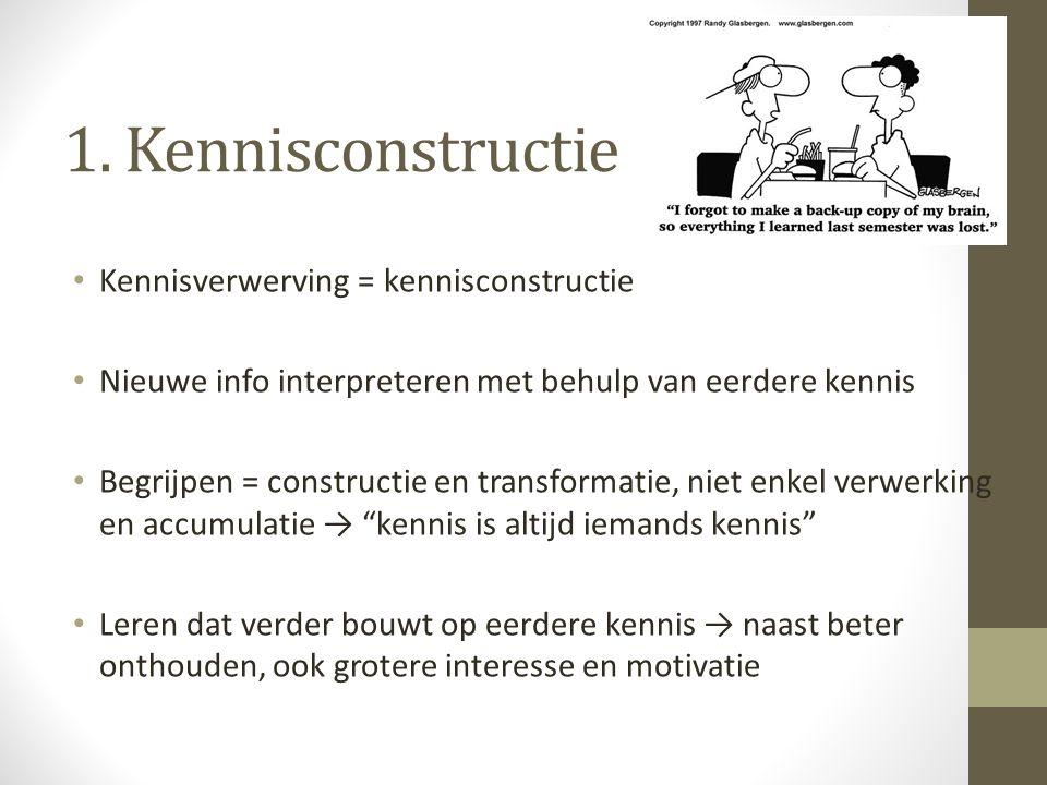 1. Kennisconstructie Kennisverwerving = kennisconstructie Nieuwe info interpreteren met behulp van eerdere kennis Begrijpen = constructie en transform