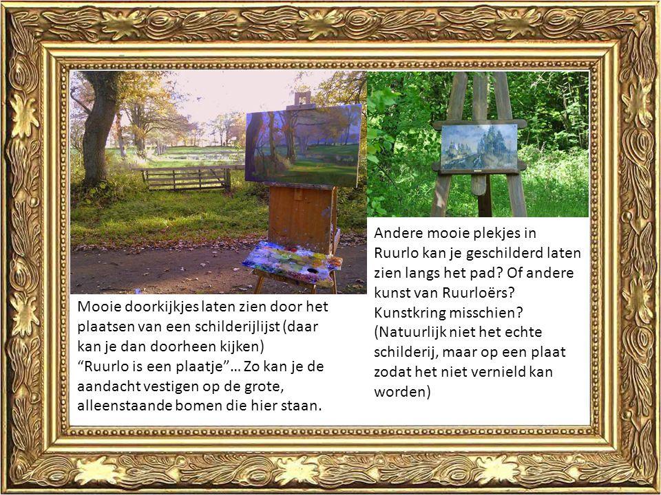 Mooie doorkijkjes laten zien door het plaatsen van een schilderijlijst (daar kan je dan doorheen kijken) Ruurlo is een plaatje … Zo kan je de aandacht vestigen op de grote, alleenstaande bomen die hier staan.