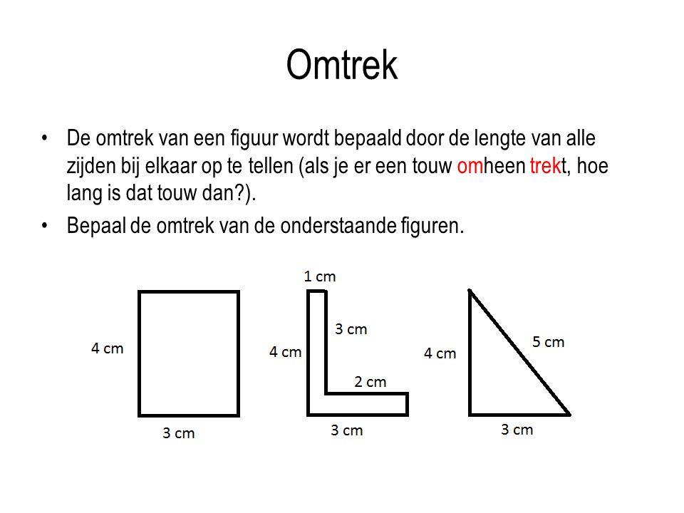 Omtrek De omtrek van een figuur wordt bepaald door de lengte van alle zijden bij elkaar op te tellen (als je er een touw omheen trekt, hoe lang is dat touw dan?).
