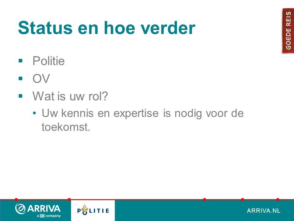 ARRIVA.NL Status en hoe verder  Politie  OV  Wat is uw rol.