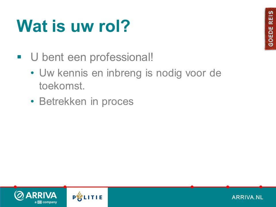 ARRIVA.NL Wat is uw rol.  U bent een professional.