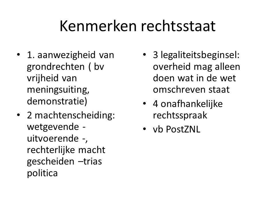 rechtsbronnen Grondwet Wetten ( volksvertegenwoordigers in tweede kamer, gemeenteraad en bestuur maken ze Rechtsspraak - jurisprudentie Verdragen (europees hof rechten van de mens Gewoonterecht (vb kabinetsformatie) Bescherming tegen misbruik overheid vb ombudsman, europees hof rechten van de mens