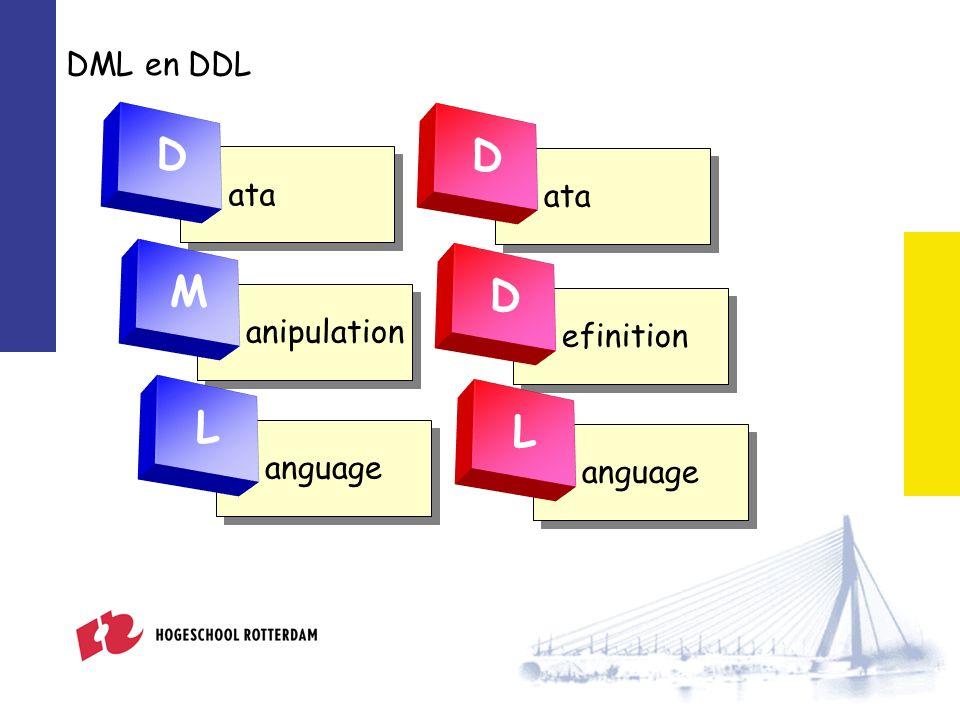 Data Manipulation Language Bekendste voorbeeld van een DML-instructie SELECT...