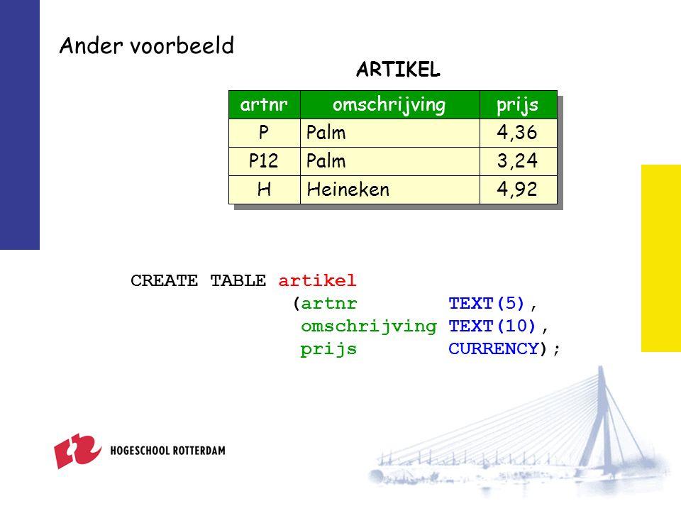 Tabellen verwijderen DROP TABLE model; DROP TABLE artikel; Het is niet altijd mogelijk om tabellen te verwijderen.