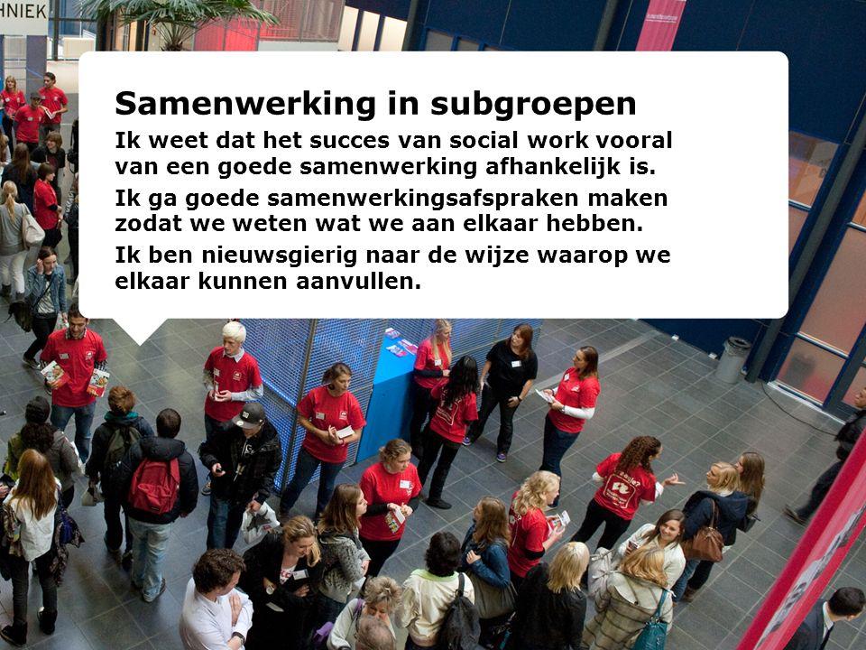 Samenwerking in subgroepen Ik weet dat het succes van social work vooral van een goede samenwerking afhankelijk is. Ik ga goede samenwerkingsafspraken
