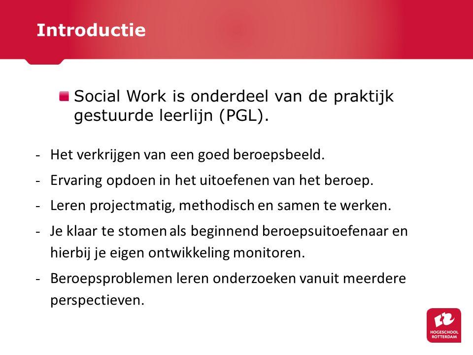 Social Work is onderdeel van de praktijk gestuurde leerlijn (PGL). - Het verkrijgen van een goed beroepsbeeld. - Ervaring opdoen in het uitoefenen van