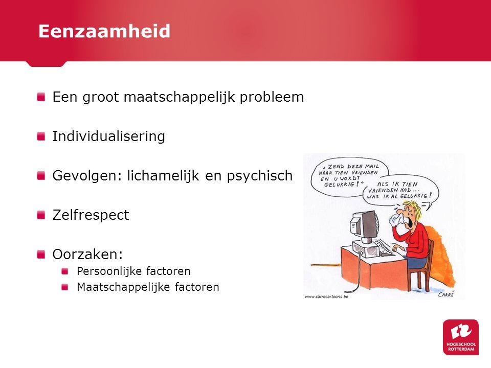 Een groot maatschappelijk probleem Individualisering Gevolgen: lichamelijk en psychisch Zelfrespect Oorzaken: Persoonlijke factoren Maatschappelijke f